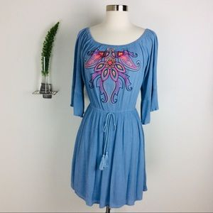 Flying Tomato Boho Embroidered Bell Sleeve Dress L